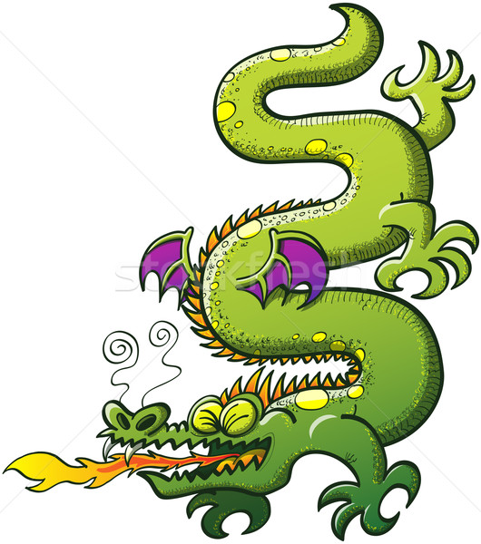 Green dragon breathing fire Stock photo © zooco