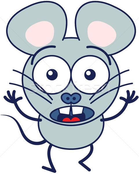 Cute mouse feeling scared Stock photo © zooco