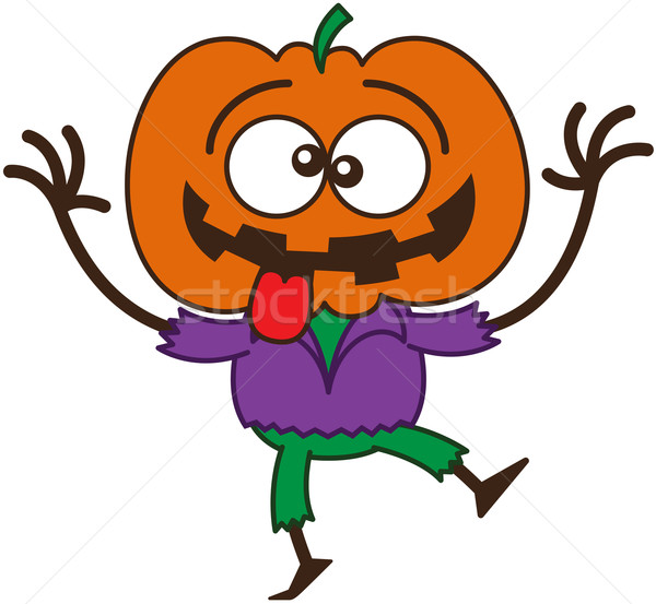 Cool Halloween scarecrow making funny faces Stock photo © zooco