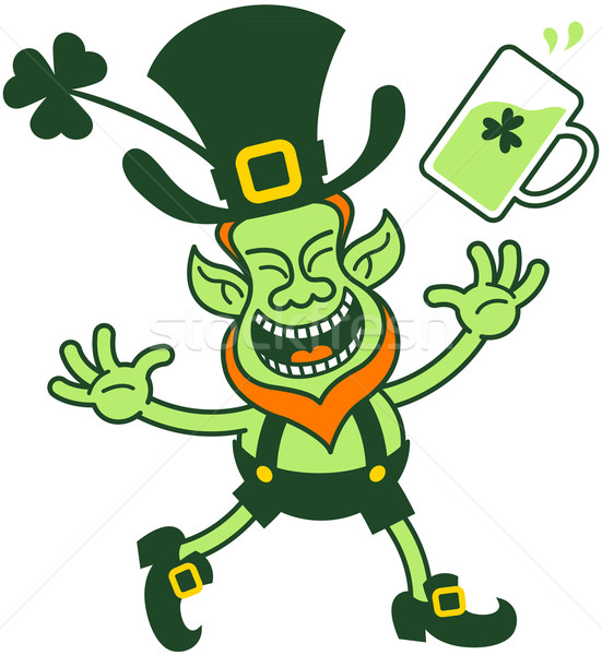 Euphoric Leprechaun Celebrating and Throwing a Glass of Beer Stock photo © zooco