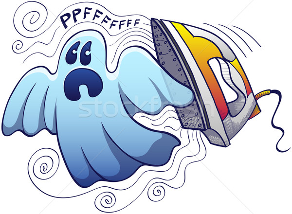 Scared ghost being chased by a terrific modern electric steam iron Stock photo © zooco