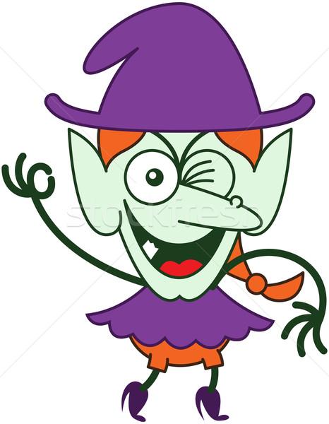 Huncut halloween boszorkány kacsintás készít ok Stock fotó © zooco