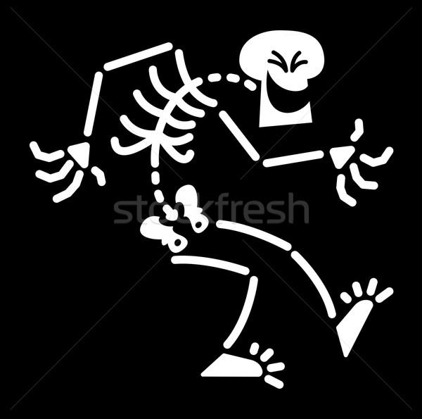 Halloween esqueleto risonho lol para baixo Foto stock © zooco