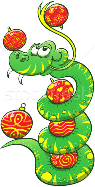 Stock photo: Green snake juggling Christmas balls