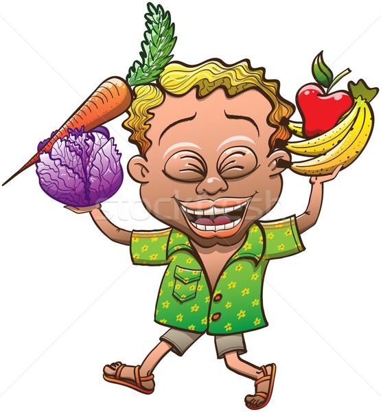 Frutas legumes feliz loiro Foto stock © zooco