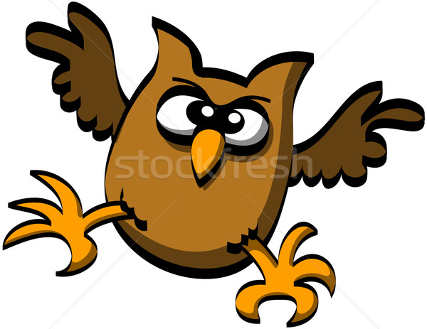 Cute brown owl attacking Stock photo © zooco