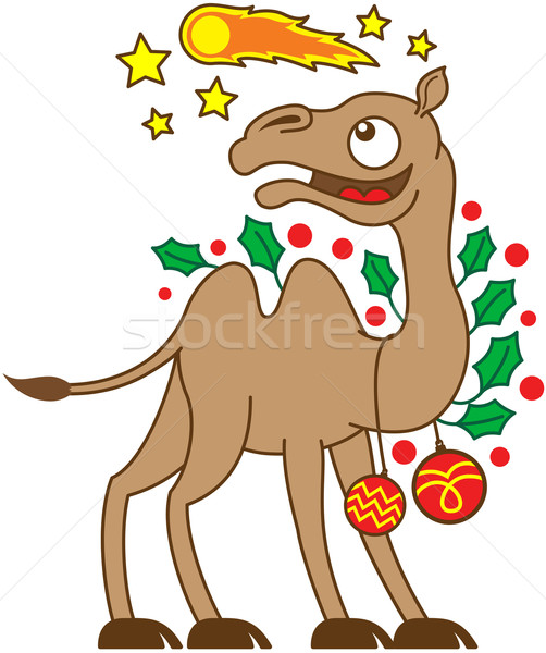 Christmas camel watching a comet in the sky Stock photo © zooco