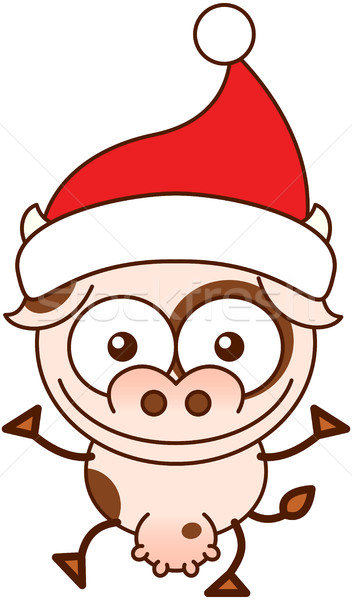 Cute cow wearing Santa hat and celebrating Christmas Stock photo © zooco