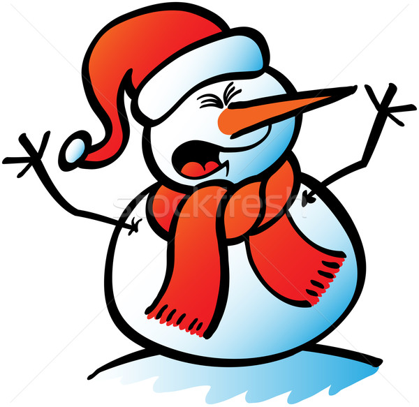 Christmas Snowman wearing Santa hat, red scarf and carrot nose when shouting Stock photo © zooco