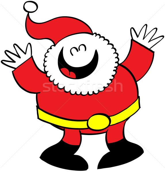 Mooie kerstman tonen gelukkig armen lachend Stockfoto © zooco