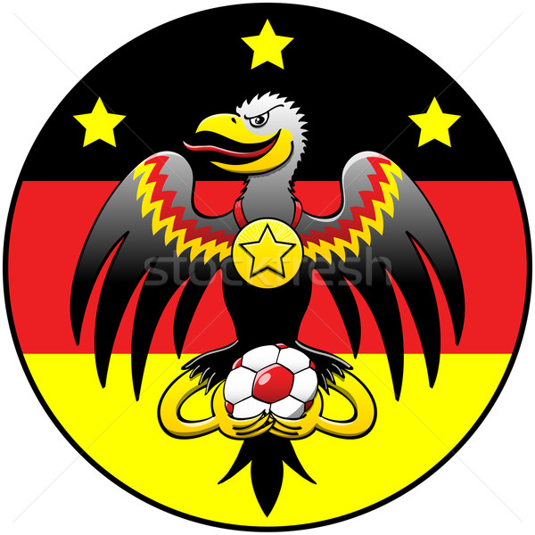Black eagle holding a soccer ball and posing in a German coat of arms Stock photo © zooco