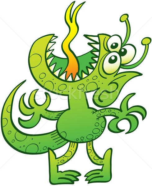 Vreemdeling tonen ergernis groene drie ogen Stockfoto © zooco