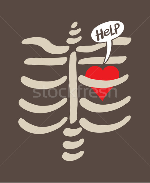Distressed heart imprisoned inside a rib cage asking for help Stock photo © zooco