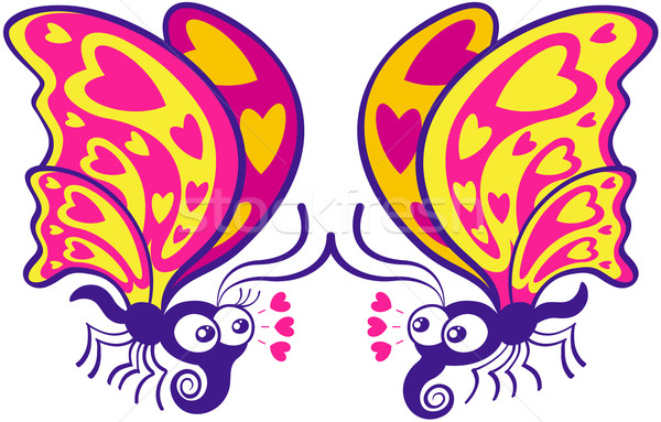 Couple of beautiful butterflies madly falling in love Stock photo © zooco