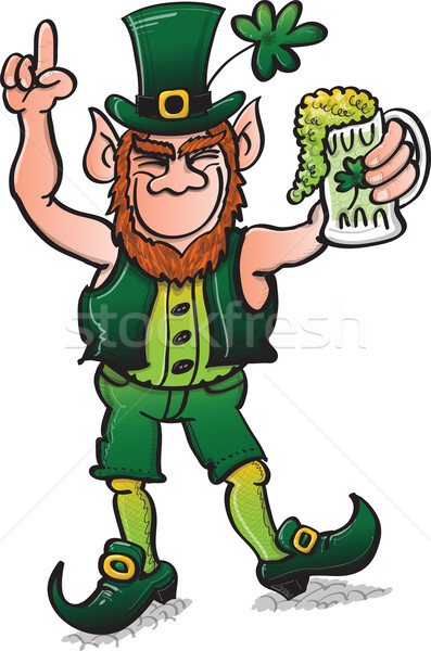Saint Patrick's Day Leprechaun Drinking Beer Stock photo © zooco