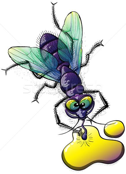 Walgelijk vliegen drinken weird Geel vloeibare Stockfoto © zooco