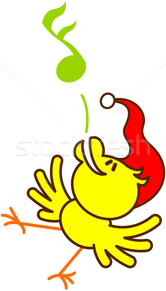 Yellow bird cheeping euphorically to celebrate Christmas Stock photo © zooco