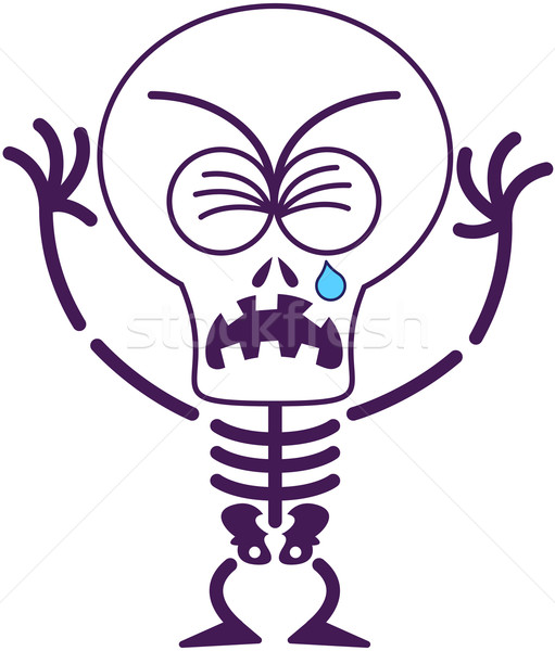 Cute Halloween skeleton crying and sobbing Stock photo © zooco