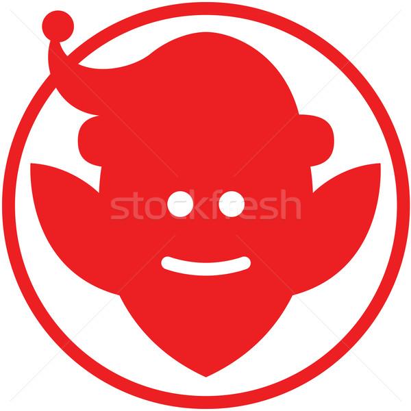 Noel cin avatar kırmızı kulaklar gülen Stok fotoğraf © zooco