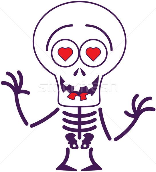 Cute Halloween skeleton in love Stock photo © zooco