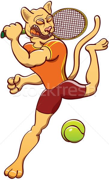 Puma playing tennis Stock photo © zooco