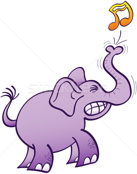 Paars olifant spelen muziek tanden Stockfoto © zooco