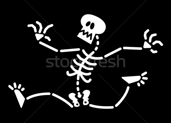 Scared Halloween skeleton running away Stock photo © zooco