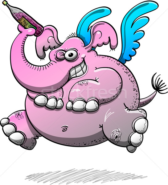 Intimidating winged elephant with pink skin Stock photo © zooco