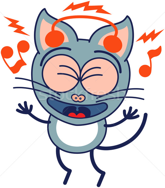 Enthusiastic gray cat listening to music Stock photo © zooco