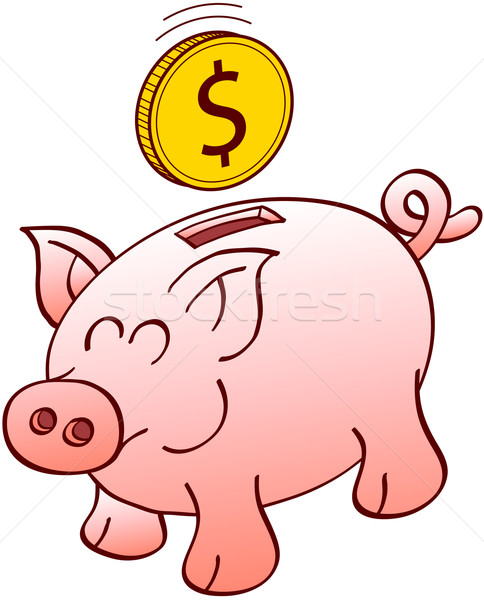 Piggy bank smiling and waiting for a Dollar coin Stock photo © zooco