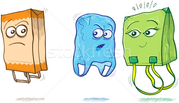 Fabric and plastic bags criticizing a paper bag Stock photo © zooco