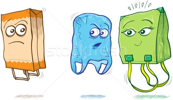 ファブリック プラスチック 袋 紙袋 青 袋 ストックフォト © zooco