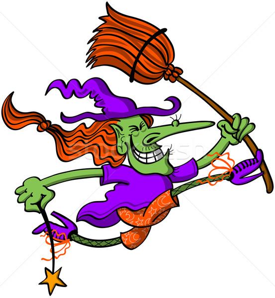 Halloween strega jumping fuori gioia completo Foto d'archivio © zooco