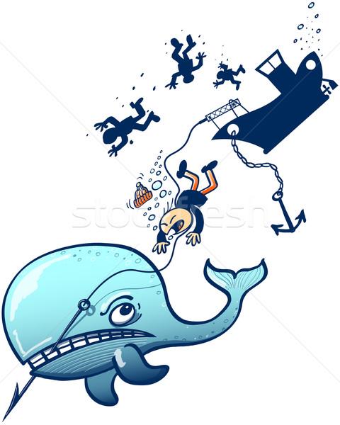 Stockfoto: Woedend · Blauw · walvis · zinken · boot · alle