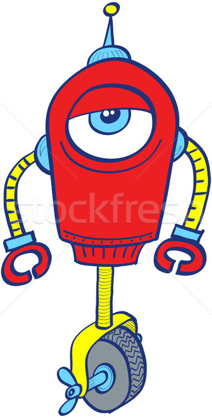 Red robot in a very bored mood Stock photo © zooco