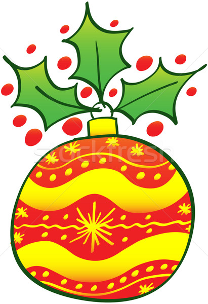 Yellow and red Christmas bauble with an evergreen holly Stock photo © zooco