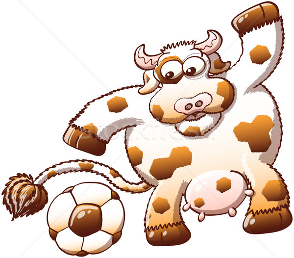 Cute cow surprised when discovering a soccer ball Stock photo © zooco