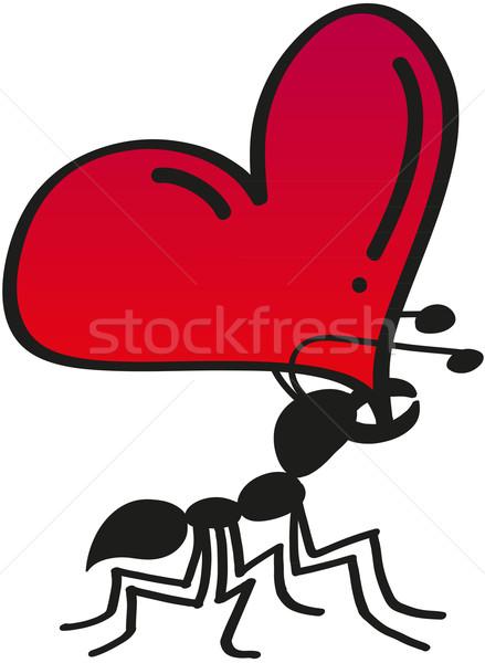 Aranyos hangya súly szív szeretet fekete Stock fotó © zooco
