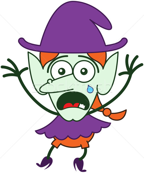Bonitinho halloween bruxa choro sentimento assustado Foto stock © zooco