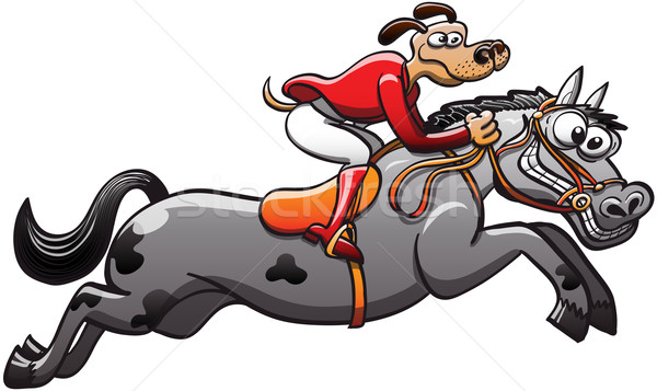 Equestrian Dog on a Jumping Horse Stock photo © zooco