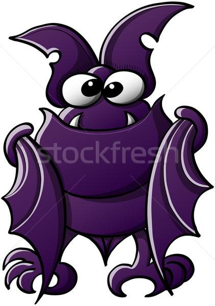 Bonitinho roxo bat sorridente pequeno Foto stock © zooco