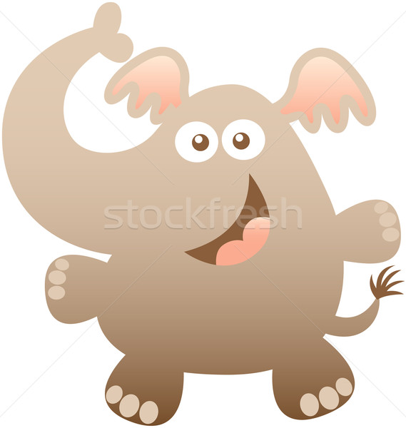 Nice baby elephant hugging and smiling sweetly Stock photo © zooco