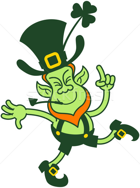 Stock photo: Happy Leprechaun Dancing and Pointing with his Finger