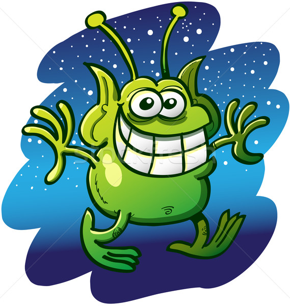 Green grinning alien walking cautiously Stock photo © zooco