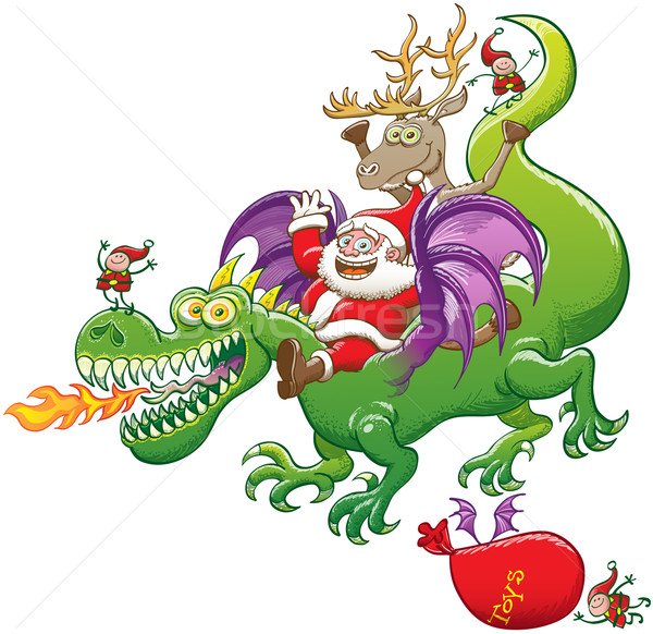 Santa Claus and his team delivering Christmas presents while riding an impressive green dragon Stock photo © zooco
