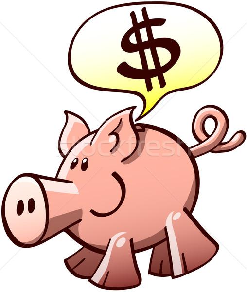 Spaarvarken vragen geld cute glimlachend tonen Stockfoto © zooco