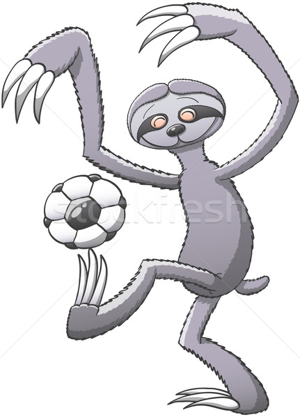 Cool sloth having fun while playing soccer Stock photo © zooco