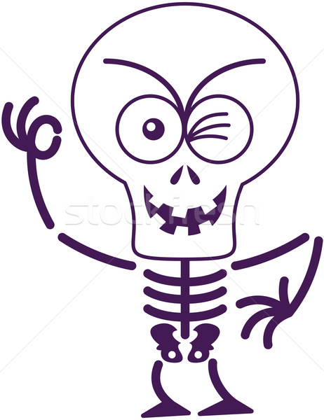 Scary Halloween skeleton winking and making an OK sign Stock photo © zooco
