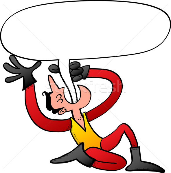 Stock photo: Circus man swallowing a speech bubble