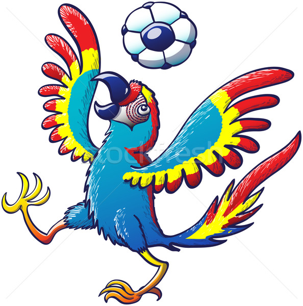 Cool macaw playing with a soccer ball on its head Stock photo © zooco